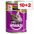 Whiskas 1+ kissanruoka 12 x 400 g: 10 + 2 kaupan päälle!