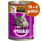 Whiskas 1+ latas comida húmida 24 x 400 g em promoção: 18 + 6 grátis!