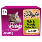 Whiskas 1+ Pure Delight Fishy & Meaty Selection in Jelly