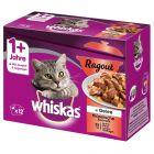 Whiskas 1+ Ragout Menuboks, Blandet udvalg i gelé