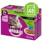 Whiskas 7+ Senior Selectie in Saus / Gelei Maaltijdzakjes Kattenvoer Voordeelpakket 48 x 85 g/100 g
