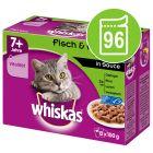 Whiskas 7+ Senior Selectie in Saus/Gelei Maaltijdzakjes Kattenvoer Voordeelpakket 96 x 85 g / 100 g