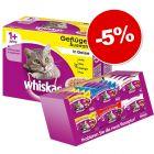 Whiskas 1+ 96 x 100 g + Les Irrésistibles XXL 24 x 60 g : - 5 % !