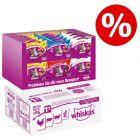 Whiskas 96 x 100 g + snacks Whiskas en pack mixto ¡precio especial!