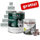 Wolf of Wilderness: hrană umedă 24 x 800 g + Snack RAW gratis!