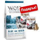 Суха храна Wolf of Wilderness: 12 кг  + лакомство подарък!