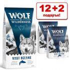 12 + 2 подарък! 14 кг Wolf of Wilderness суха храна