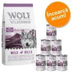 Wolf of Wilderness Adult 12 kg hrană uscată + 6 x 400 g / 6 x 800 g hrană umedă