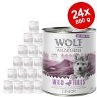"Wolf of Wilderness ""Carne allevata all'aperto"" Junior 24 x 800 g Umido cani"