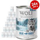 "Wolf of Wilderness ""Carne allevata all'aperto"" Junior 24 x 400 g Umido cani"