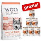 Wolf of Wilderness, 12 / 13 kg + karma mokra, 6 x 300 / 400 g gratis!