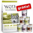 Wolf of Wilderness 12 kg ração + 6 x 400 g latas em pack misto grátis!