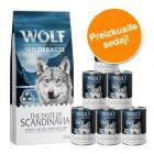 Wolf of Wilderness: 12 kg suhe hrana + 6 x 400 g / 800 g mokra hrana