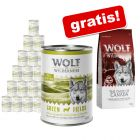 Wolf of Wilderness: Nassfutter 24 x 400 g + 1 kg Trockenfutter gratis!