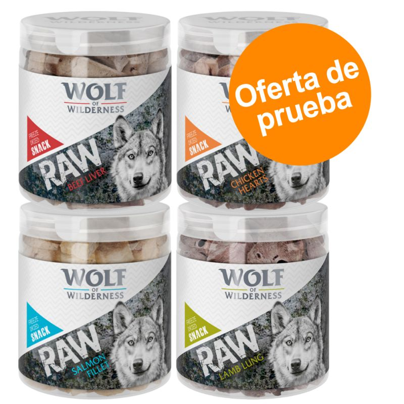 Wolf of Wilderness RAW snacks liofilizados - Pack de prueba mixto (4 tipos)