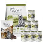 Wolf of Wilderness Senior próbacsomag: száraz-, nedvestáp & snack