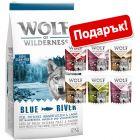 Суха храна Wolf of Wilderness: 12 кг  + 6 x 300 г в паучове микс подарък!