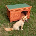Woody hundehus med fladt tag og plast-dør