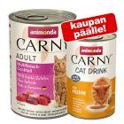 24 x 400 g Animonda Carny Adult + 140 ml Cat Drink - kana kaupan päälle!