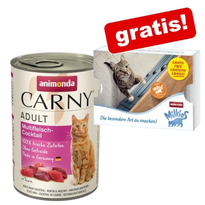 6 x 400 g Animonda Carny Adult Natvoer + 4 x 15 g Milkies Mix Snacks gratis!