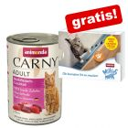 6 x 400 g Animonda Carny Adult + 4 x 15g Animonda Milkies Selection gratis!