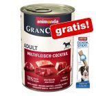6 x 400 g Animonda GranCarno Adult + 50 g Dental Sticks Medium gratis!