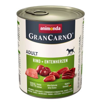 6 x 800 g Animonda GranCarno Adult + 50 g Dental Sticks Medium gratis!