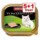 6 x 100g Animonda vom Feinsten Wet Cat Food - 5 + 1 Free!*
