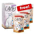 64 x 100g Catessy Fine Pâté Tray + 3 x Anti-Hairball Crunchy Snacks Free!*