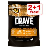 3 x 750g Crave Adult Dry Cat Food - 2 + 1 Free!*