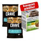 2 x 750 g Crave Adult kissan kuivaruoka: märkäruoka kaupan päälle!