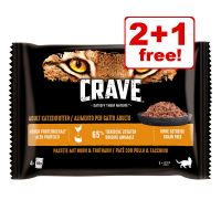 4 x 85g Crave Cat Pouches Trial Pack - 2 + 1 Free!*