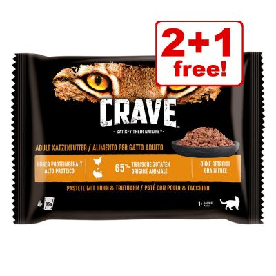 4 x 85g Crave Cat Pouches Trial Pack Wet Cat Food - 2 + 1 Free!*