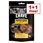 2 x 55g Crave Protein Chunks Dog Snacks – 1+1 Free!*