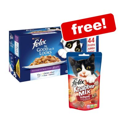 44 x 100g Felix As Good As It Looks Wet Cat Food + Goody Bag Treats Free!*