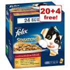 24 x 100g Felix Sensations Wet Cat Food Pouches - 20 + 4 Free!*