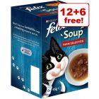 18 x 48g Felix Soup Wet Cat Food - 12 + 6 Free!*