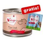 6 x 200 g Feringa Pure Meat Menu + gratis: 3 x 6 g Feringa Sticks somon & păstrăv!