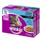 12 x 85 g / 100 g Multipack Whiskas 1+ Pliculețe