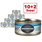 12 x 70g Greenwoods Adult Wet Cat Food - 10 + 2 Free!*