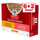 8 x 80g Hill's Science Plan Healthy Cuisine Wet Cat Food - 6 + 2 Free!*