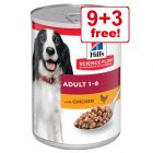 12 x 370g Hill's Science Plan Wet Dog Food - 9 + 3 Free!*