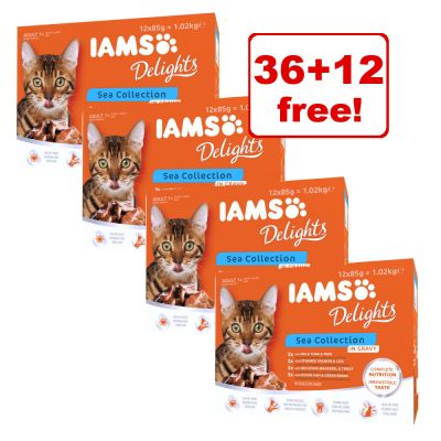 48 x 85g IAMS Delights Wet Cat Food Pouches - 36 + 12 Free!*