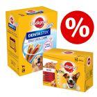 96 x 100 g Pedigree Pouch -mix + 28 kpl Dentastix Large erikoishintaan!