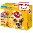 96 x 100g Pedigree Wet Dog Food Pouches - 72 + 24 Free!*