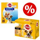 96 x 100g Pedigree Wet Dog Food Pouches + 28x Dentastix S - Bundle Price!*