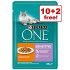 12 x 85g Purina ONE Wet Cat Food - 10 + 2 Free!*