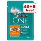 48 x 85g Purina ONE Wet Cat Food - 40 + 8 Free!*