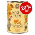 6 x 400g Rosie's Farm Sunny Summer Lamb & Chicken Wet Dog Food - 20% Off!*