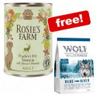 6 x 400g Rosie's Farm Wet Dog Food + Wolf of Wilderness Dry Food Free!*